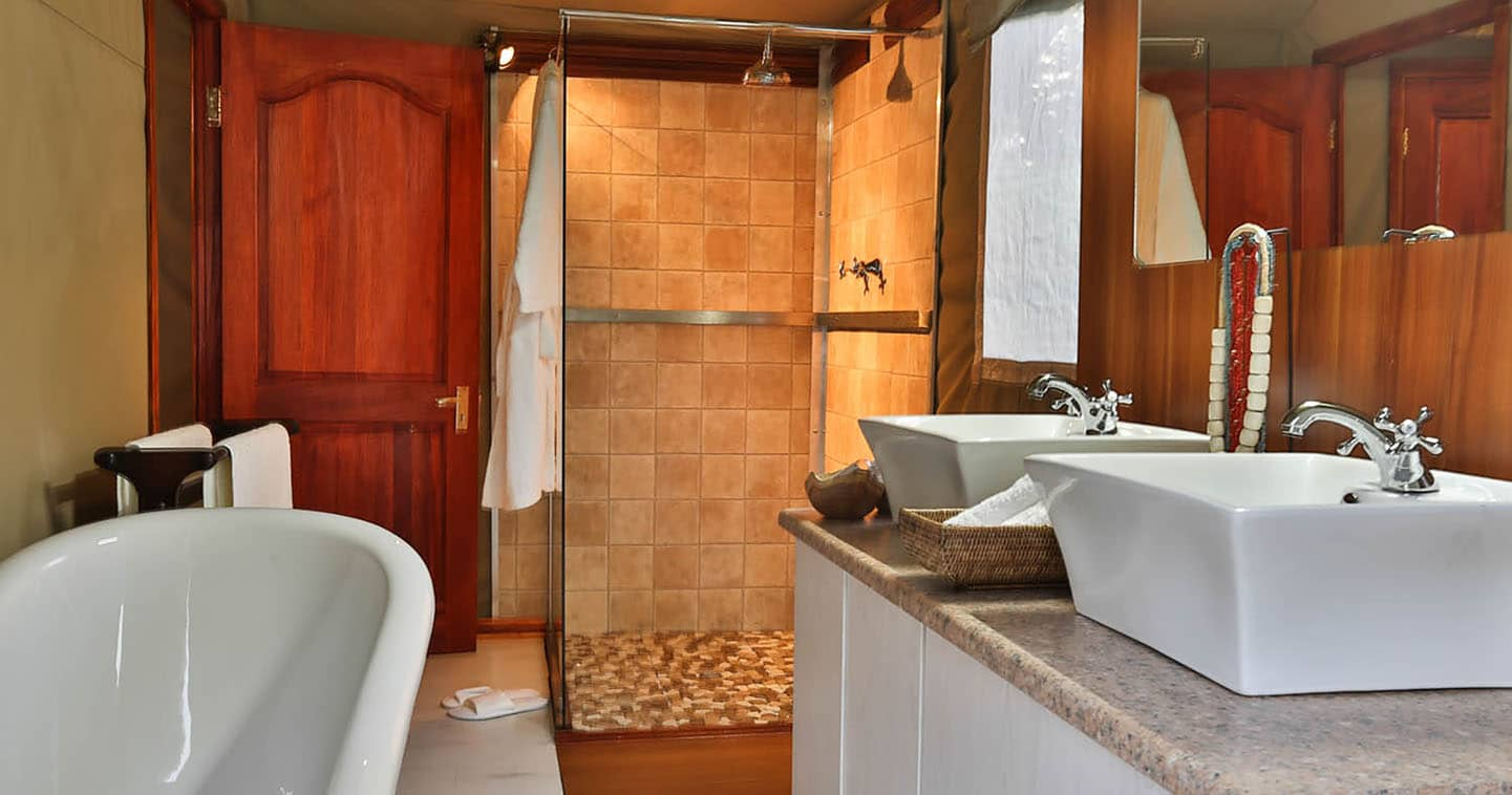 Luxury Bathroom at Kadizora Camp in the Okavango Delta in Botswana