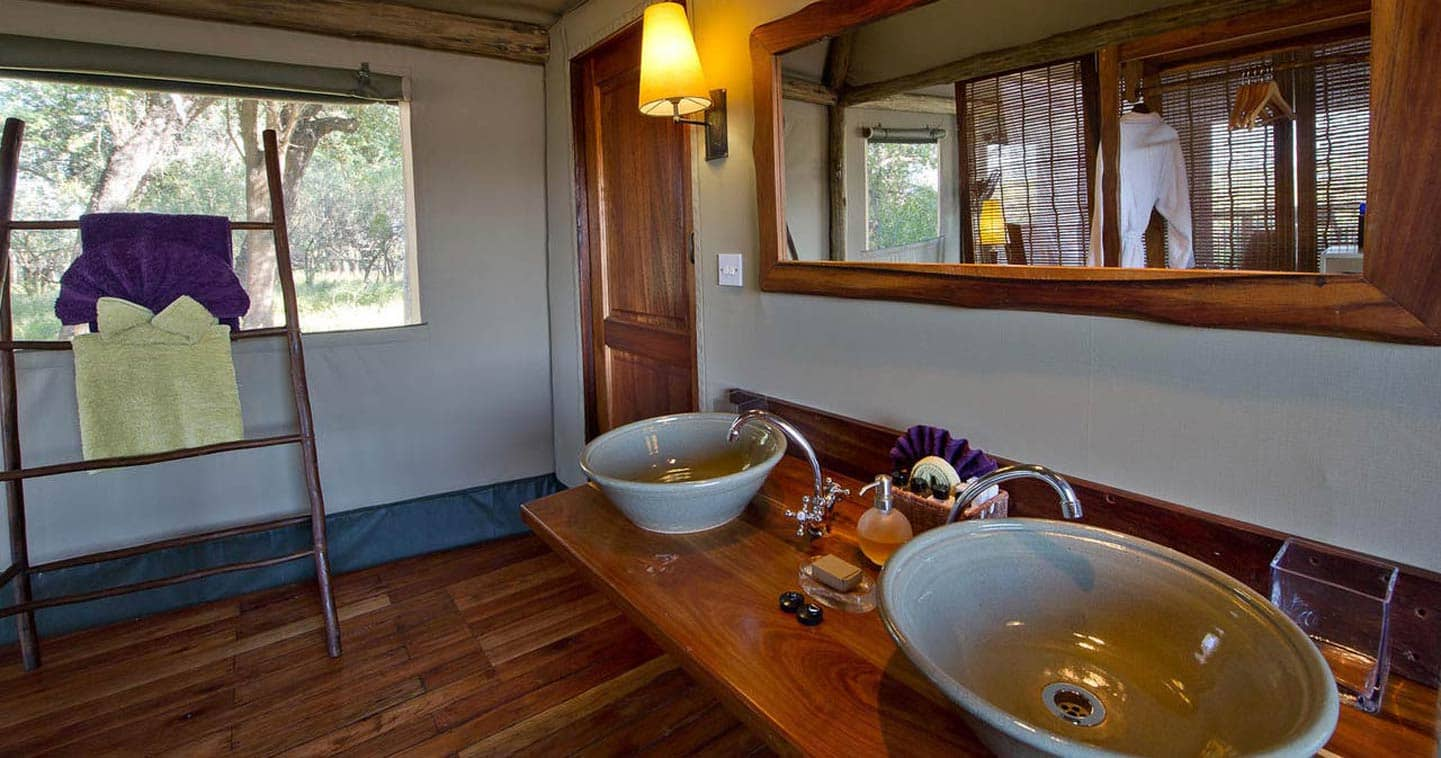 Luxury Bathroom at Xigera Camp in the Okavango Delta in Botswana