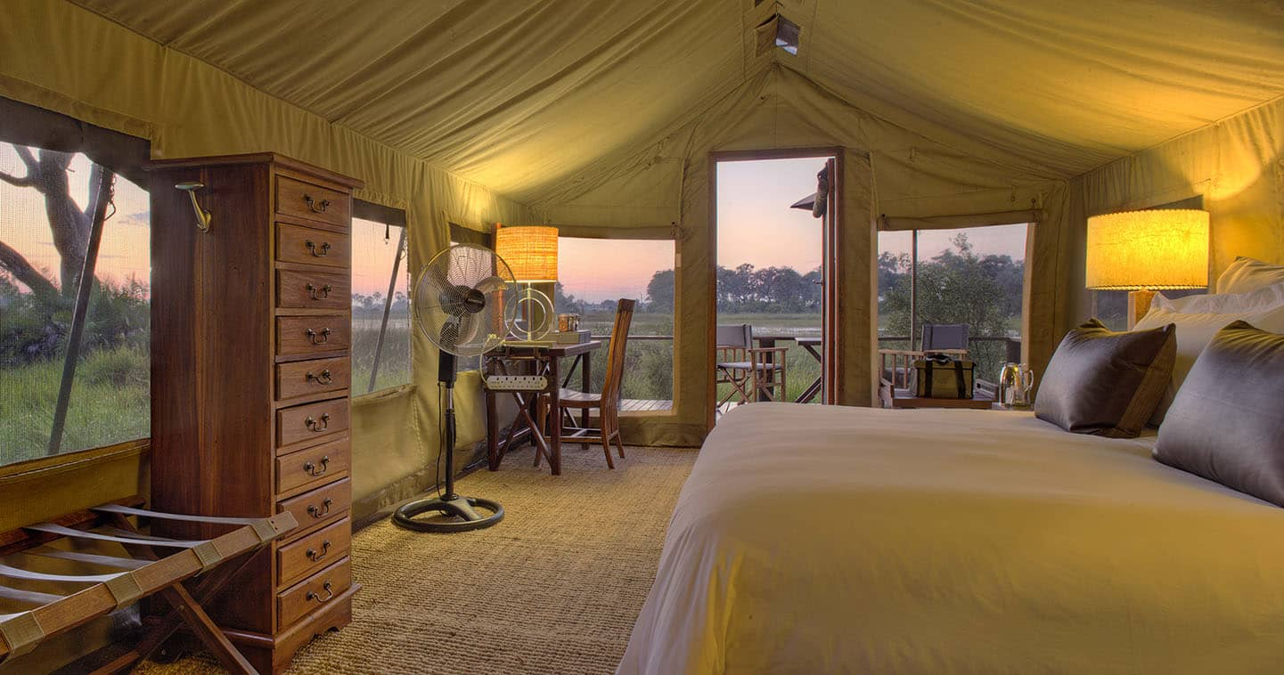 Enjoy a luxury safari at Nxabega Okavago Tented Camp in the Okavango Delta
