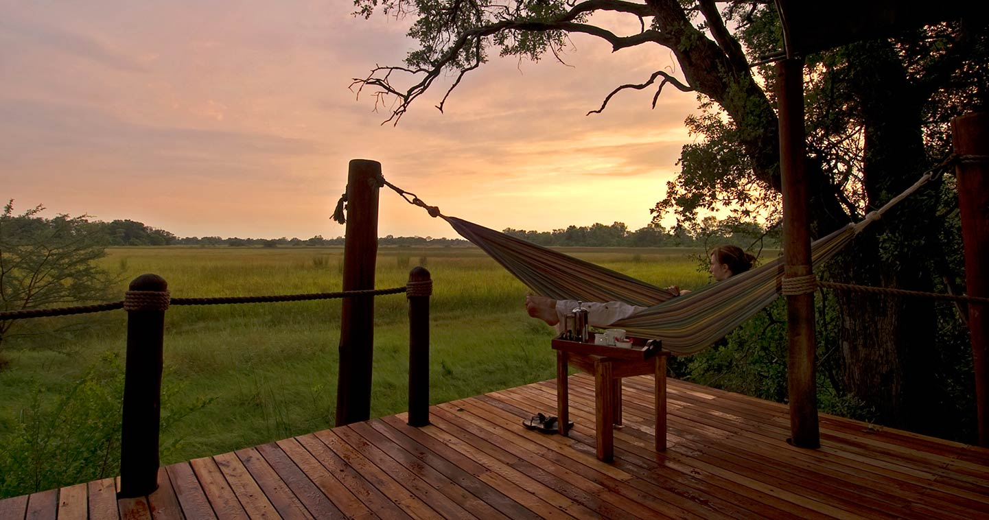 Enjoy the Sunrise from the Hammock at Sanctuary Stanleys Camp in the Okavango