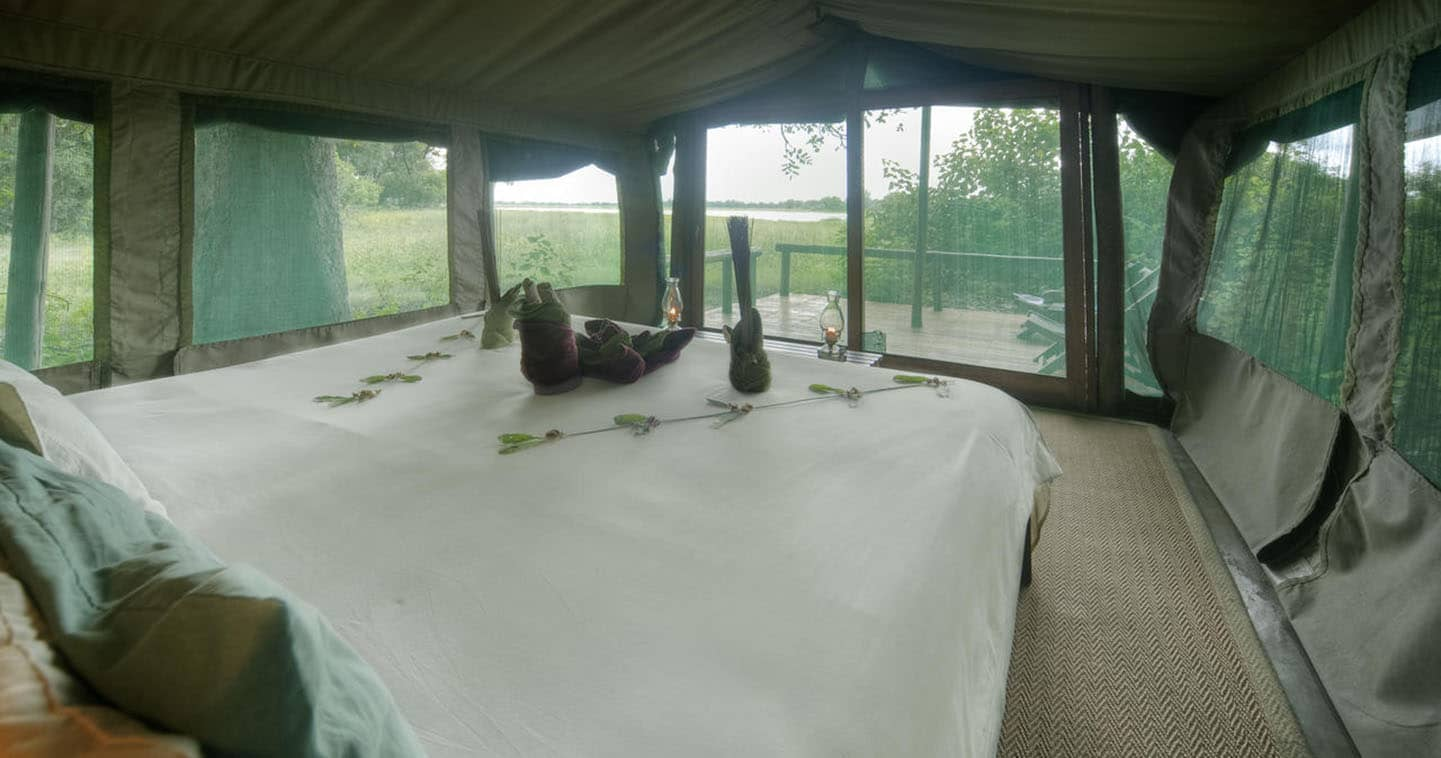 View from a Kwara Camp bedroom over the Surrounding Bush