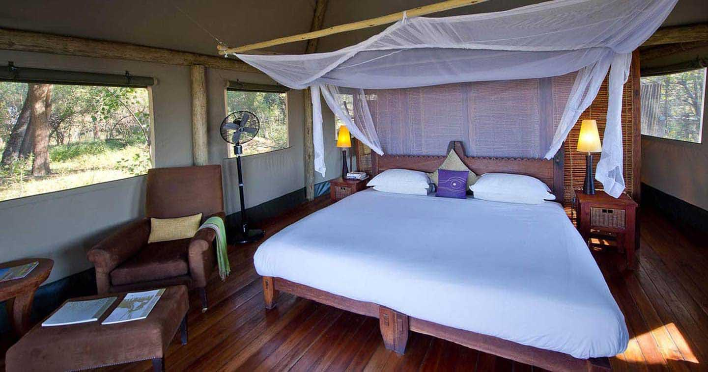 Luxury Xigera Camp Bedroom in the Okavango Delta