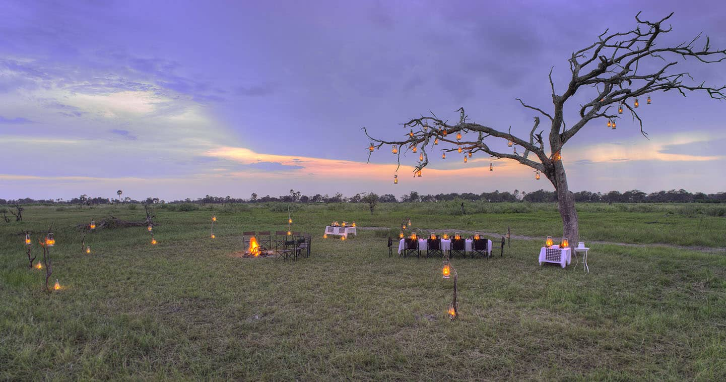 Enjoy Dinner at the Boma in Nxabega Okavago Tented Camp