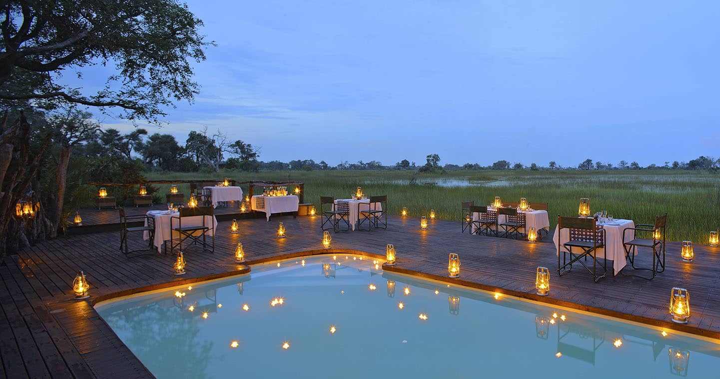 Luxury Dinner at Nxabega Okavago Tented Camp in  Okavango Delta in Botswana