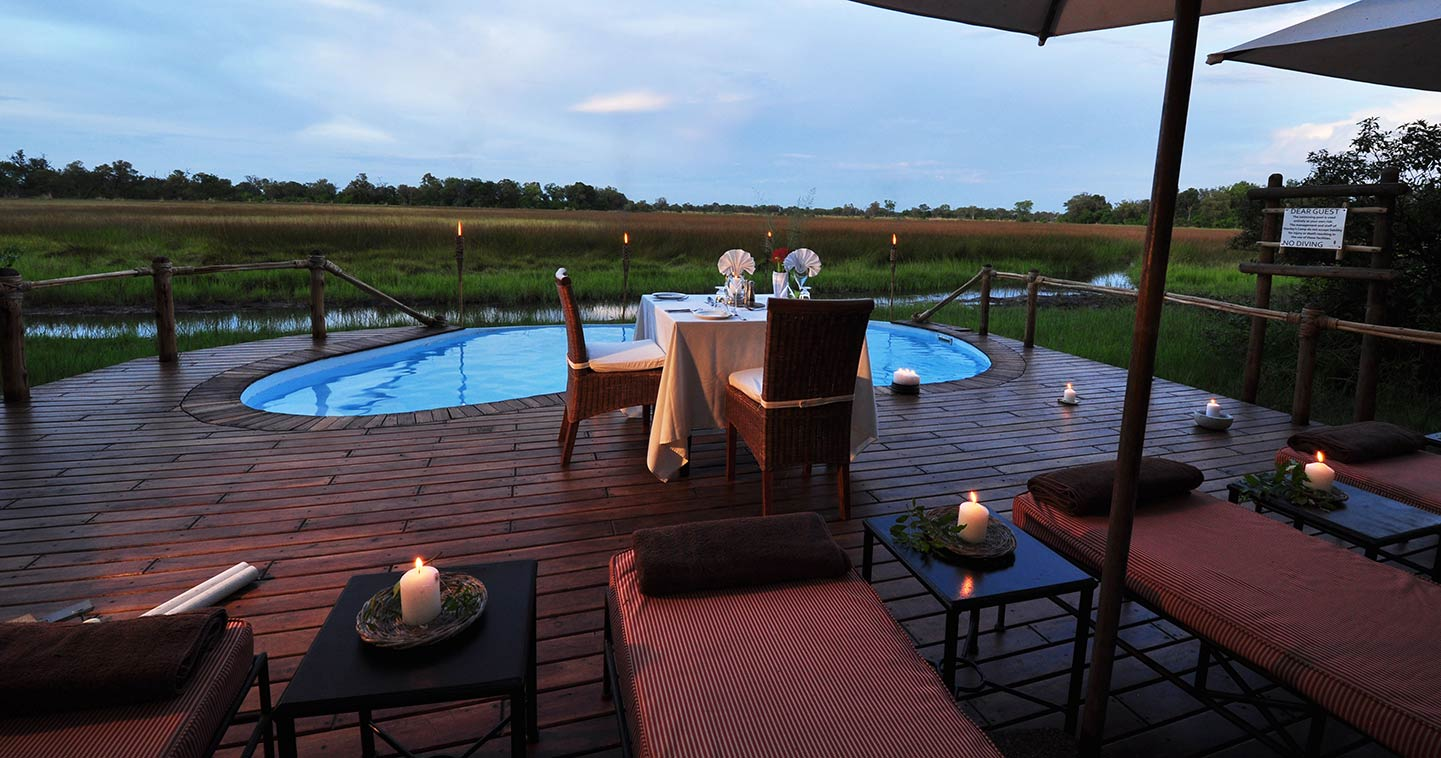 Luxury Dinner at Sanctuary Stanleys Camp in  Okavango Delta in Botswana