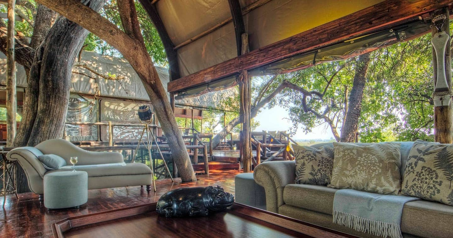 The Lounge at Shinde Camp in Okavango Delta