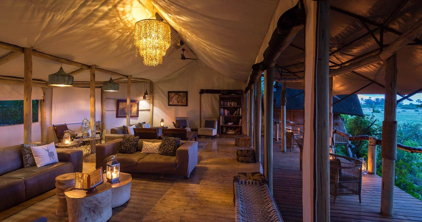 The lounge at Tubu Tree Camp in the Okavango Delta in Botswana